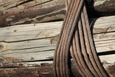 Planks of wood bound by ropes — Stock fotografie
