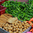 Stock Photo: Fresh vegetables and tofu in Chinese market