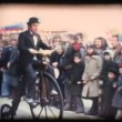 Stock Video: Vintage 8mm. Mriding velocipede