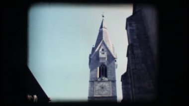 Vintage 8mm. Medieval steeple — Stock Video