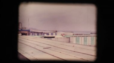 Vintage 8mm. Empty seaside resort in winter — Stock Video