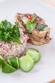 Basil with mackerel — Stock Photo
