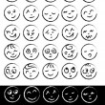 gülücükler çizilmiş koleksiyonu el — Stok Vektör #35735449