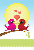 Two Love Birds With Hearts — Stock Vector