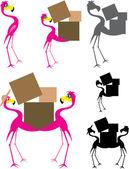 Flamingo Cartoon Moving — Stock Vector