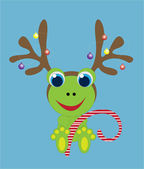 Holiday frog with reindeer antlers — Stock Vector