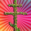 Stock Photo: Cross with flowers, symbol of Christifaith