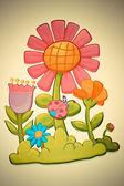 Illustration of flowers with ladybird — Stock Photo