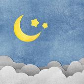 Grunge papier texture lune dans la nuit — Photo
