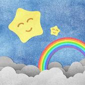 Grunge papier textuur schattige sterren en regenboog — Stockfoto