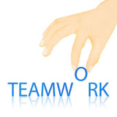 Paper texture ,Hand made teamwork word — Stock Photo