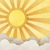 Grunge paper texture sun and cloud — Stock Photo