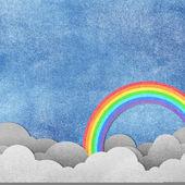 Grunge papel textura nubes y arco iris — Foto de Stock