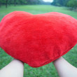 Stock Photo: Hand Holding big love heart shape pillow