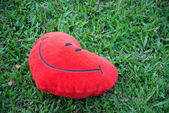 Big love heart shape pillow on green grass — Стоковое фото