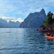 Kayaking on Cheo Lan lake. Khao Sok National Park. Thailand. — Stock Photo