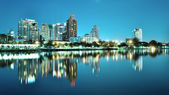 Bangkok city downtown at night with reflection of skyline, Bangk — Stock Photo