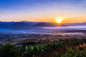 Landscape of Mountain views and Sunrise at Yun Lai Viewpoint,Pai — Stock Photo
