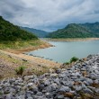 River and mountain backside of Khundanprakanchon dam, Nakhon Nay — Stock Photo