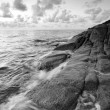 Black and white Sea and rock at morning — Stock Photo #29079925