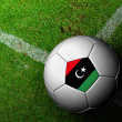Foto de Stock  : LibyFlag Pattern of soccer ball in green grass