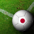 Japan Flag Pattern of a soccer ball in green grass — Stock Photo #29100633