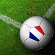 Foto de Stock  : France Flag Pattern of soccer ball in green grass