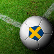 Sweden Flag Pattern of soccer ball in green grass — Stockfoto #29111385
