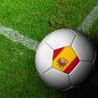 Spain Flag Pattern of a soccer ball in green grass — Stock Photo