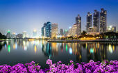 Bangkok city downtown at night — Stock Photo