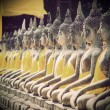 Buddha statue in Wat Yai Chai Mongkol- Ayuttaya of Thailand (Vin — Stock Photo