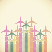 Colorful Airplanes on vintage tone background — Stock Photo