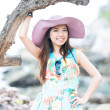 A portrait of beautiful asian woman on the beach — Stock fotografie