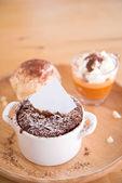 Dark Chocolate in pot — Stock Photo