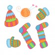 Warm knitted accessories, vector — Stock Vector