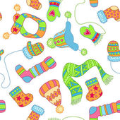 Warm knitted accessories, vector pattern — ストックベクタ