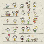 Hand drawing cartoon happy kids — Stock Photo