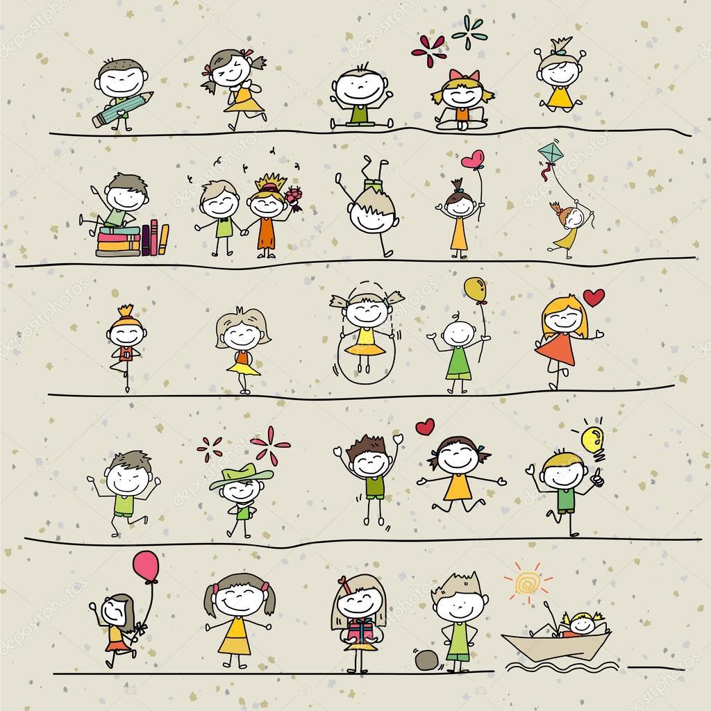 Main dessin d 39 enfants heureux de dessin anim - Dessin main enfant ...