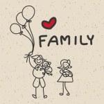 Hand drawing cartoon happy family — Stock Vector