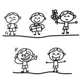 Hand ritning tecknad känsla pojkar — Stockvektor