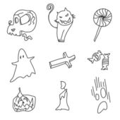 Mano disegno cartoon halloween — Vettoriale Stock
