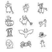 Hand tekening cartoon halloween — Stockvector
