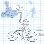 Girl with balloons and bicycle — Stockvector
