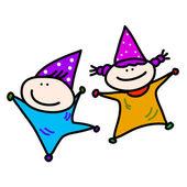 Enfants jouant la fête d'anniversaire — Vecteur