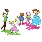 Happy family cartoon handgezeichneten — Stockvektor
