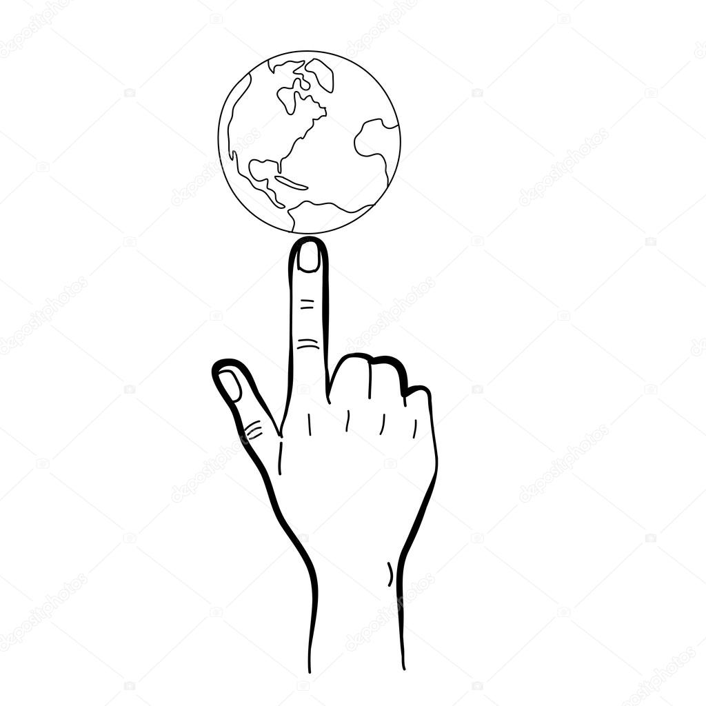 指着地球仪矢量设计绘图手绘草图手– 图库插图