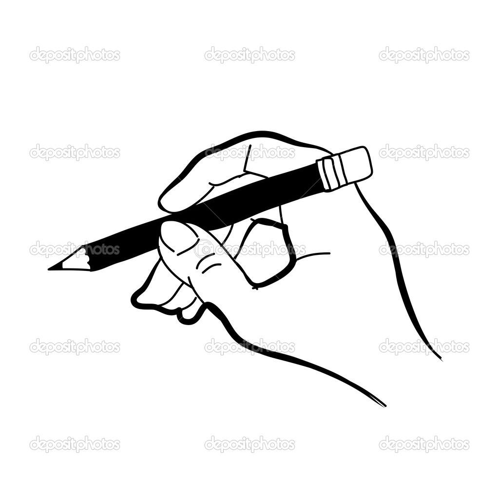 手绘图手绘草图手拿着铅笔矢量设计– 图库插图