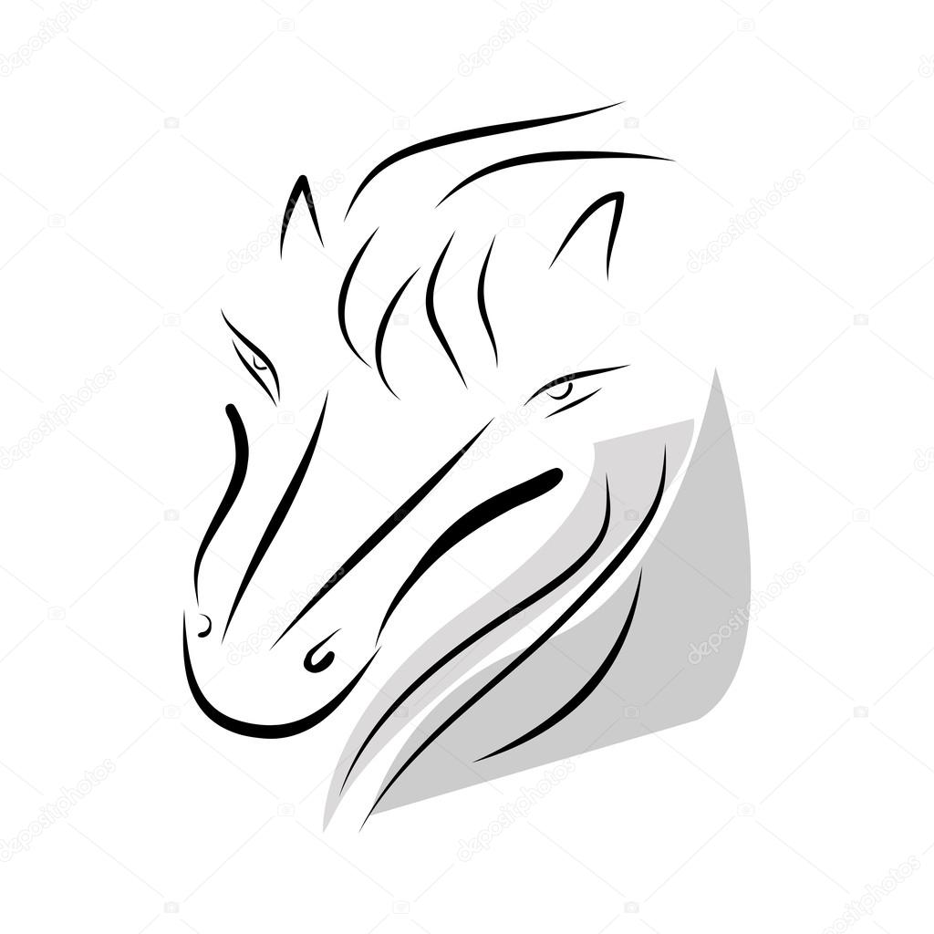 马头部的矢量图形在白色背景上– 图库插图