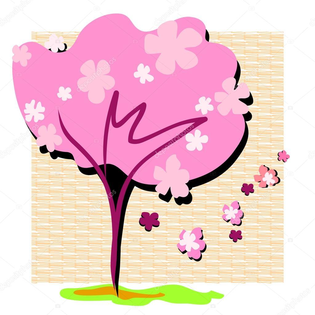 春天樱花盛开矢量手绘图模式