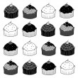 Cup cake sketch in black and white — Stock Vector